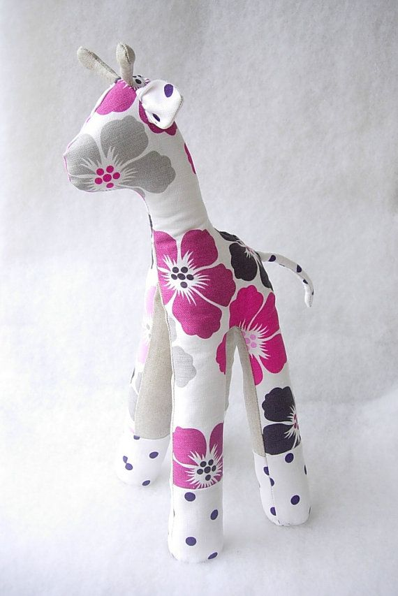 Linen Stuffed Giraffe Toy with Pink Flowers. by DovilesBoutique