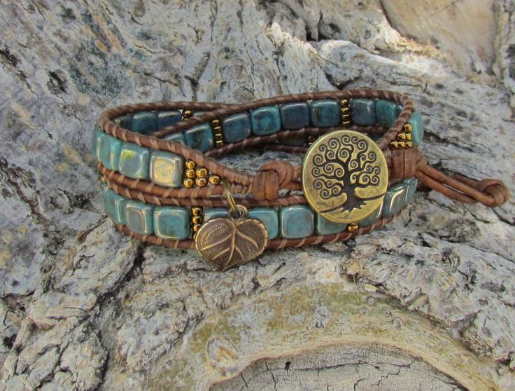 Turquoise Tree of Life leather wrap by WorldOfSquirrelCraft, $26.00