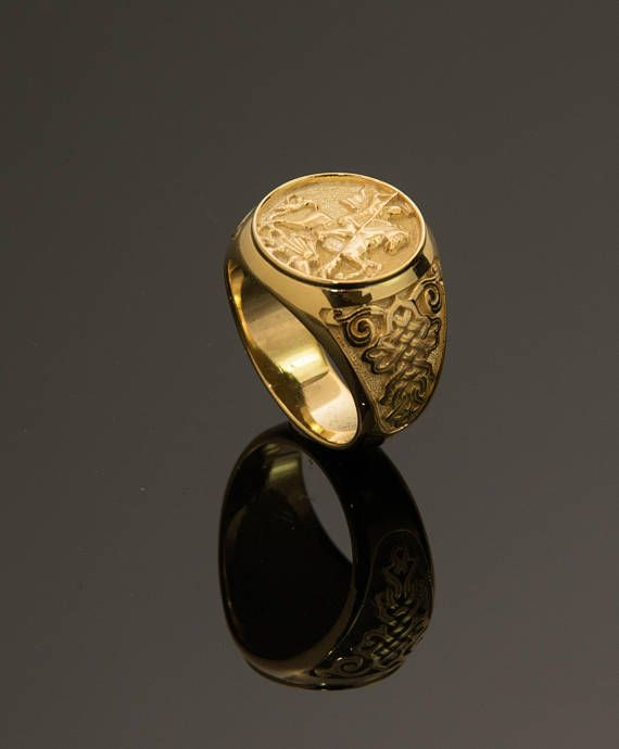 Gold Sovereign Ring Gold Signet Ring Sterling Silver 925