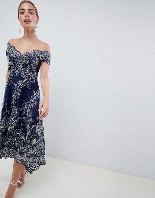 1161c360ad0 City Goddess Petite Lace Bardot Midi Dress