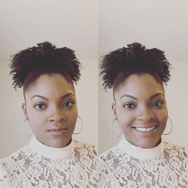 What a difference a smile makes lol!! Happy Sunday!! Ain't done a high bun in tiiiimmmmeeee! #highbun #bunlife #naturalhairstyles #naturalhaircare #naturalhairdaily #blackgirlsrock #curlyhairstyles #curlyhairrocks #quicknaturalstyles #simplehighbun #sundayfunday #sundayvibes