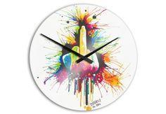 """Die bedruckte Acrylglas-Uhr """"Buttafly - Fuck the System"""" ist ein Eyecatcher an der Wand.    44x44 cm - 69,90 € Durchmesser mit Zeigern: 36 cm  www.buttafly.de www.facebook.com/lilv111 www.instagram.com/buttafly_art"""