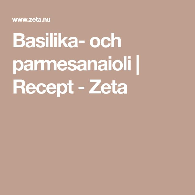 Basilika- och parmesanaioli | Recept - Zeta