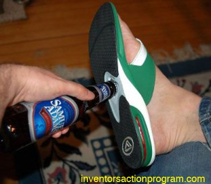 Flip flop shoe with bottle opener, maybe not so wacky after all!