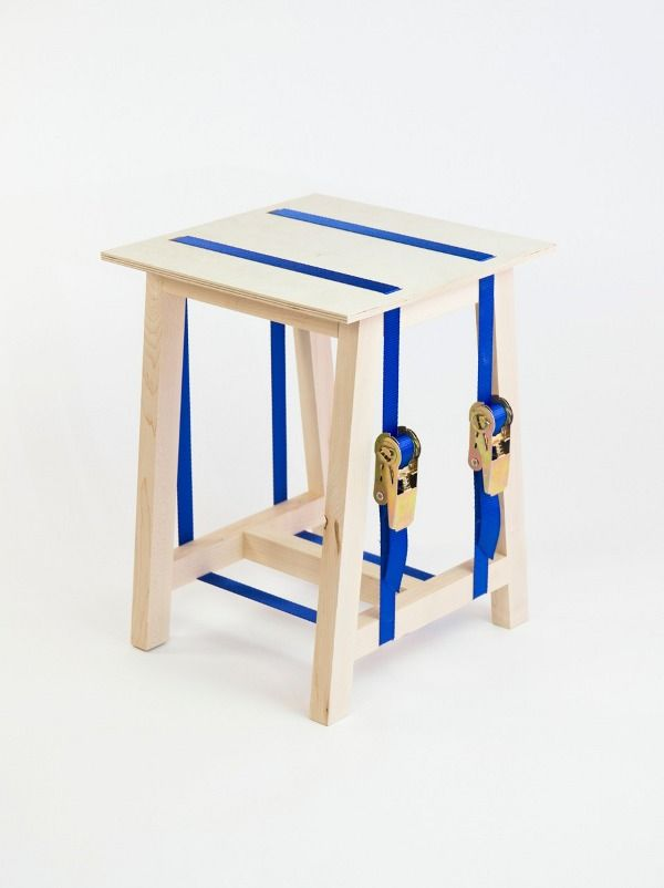 STOOL - bram/stijn  Stool made from no more than four compartments and two straps. It comes as a flatpack and sets up in a blink of an eye.