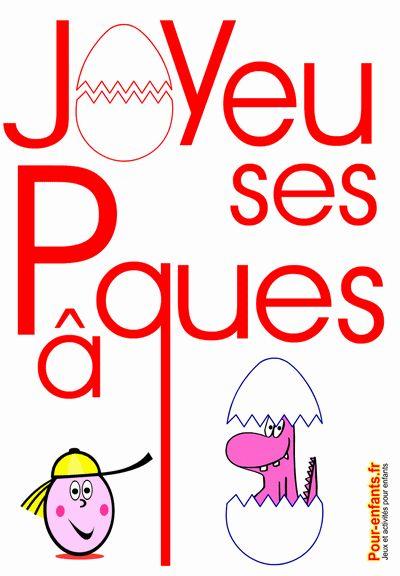 Joyeuses Pâques dessin de PAQUES à imprimer gratuit texte en grand