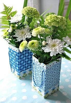 Virágtartó tejes dobozból