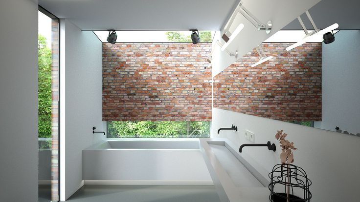 Ontwerp badkamer met 1.2m aanbouw aan achtergevel en modernisering d.m.v. betonnen wasbak, ligbad met horizontaal raam, metselwerk muur en lichtstraat.