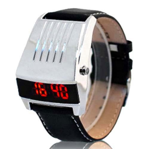 Waterproof LED Watch with Leather Strap (Black)