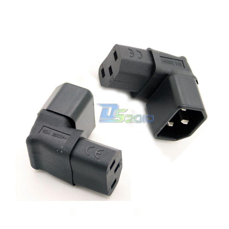 Adaptador de corriente Enchufe Macho IEC C14 a C13 Hembra Hasta 90 Grados En Ángulo de pared @ y Qua