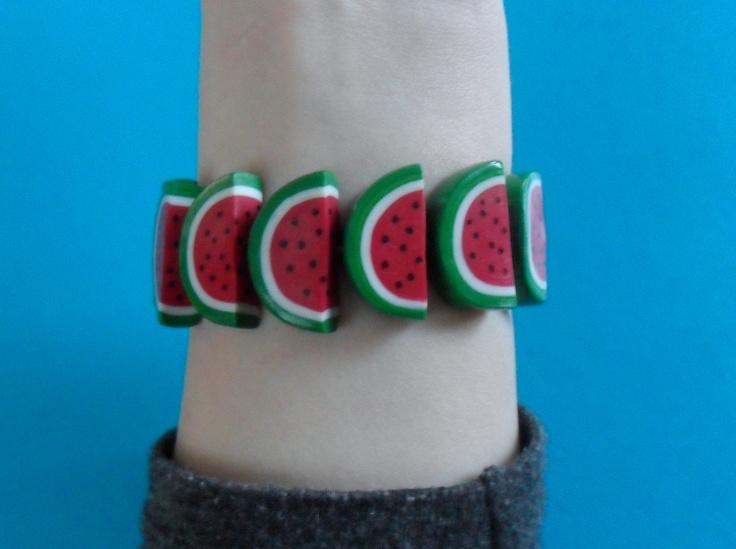 watermelon bracelet #fimo #polymerclay