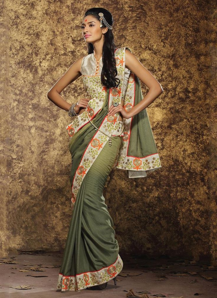 Cute Viscose Patch Border Work Traditional  Saree
