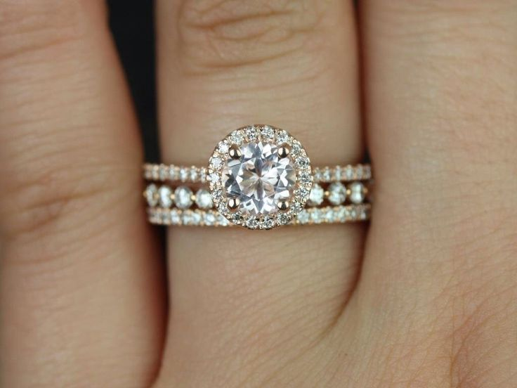 Kubian 6mm & Petite Bbl Breathe 14kt Rose Gold Round Morganite and Diamonds Halo TRIO Wedding Set (Other metals and stone options available) by RosadosBox on Etsy https://www.etsy.com/listing/220725491/kubian-6mm-petite-bbl-breathe-14kt-rose