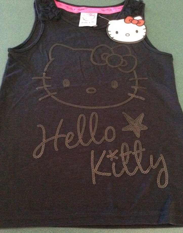 Hello Kitty Size 10 Singlet Top Girls Black With Sequins Brand-New With Tag
