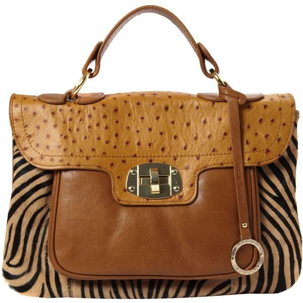 Edina Ronay Tan Leather Animal Print Satchel Style Bag ($80) ❤ liked on Polyvore