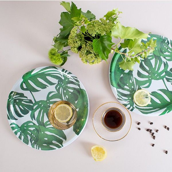 Tropical Leaf Melamine Tray - available from MiaFleur