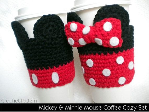 coffe cozy with pocket | Mickey & Minnie Mouse Coffee Cozy Set - pattern includes BOTH! Easy to ...