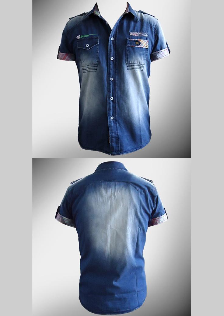 Desarrollo de producto para la marca DKS DIUKAS: Camisa Denim (tela denim con aplicaciones en tela a cuadros, se mando a realizar un desgaste localizado en ciertas zonas)