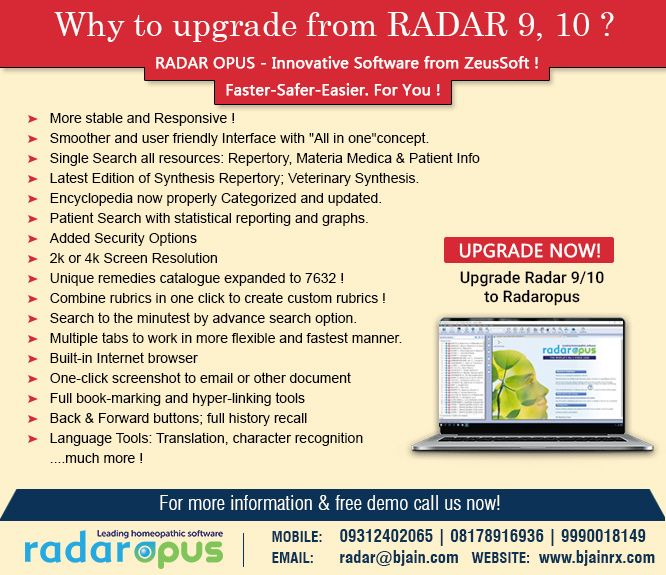 Radaropus Innovative Software From Zeussoft Know More About Why To Upgrade From Radar 9 To 10 For More Info Https Www Bjain Materia Medica Radar Info