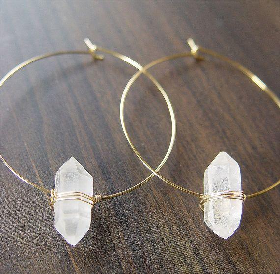 Herkimer Diamond Gold Hoop Earrings by friedasophie on Etsy, $49.00