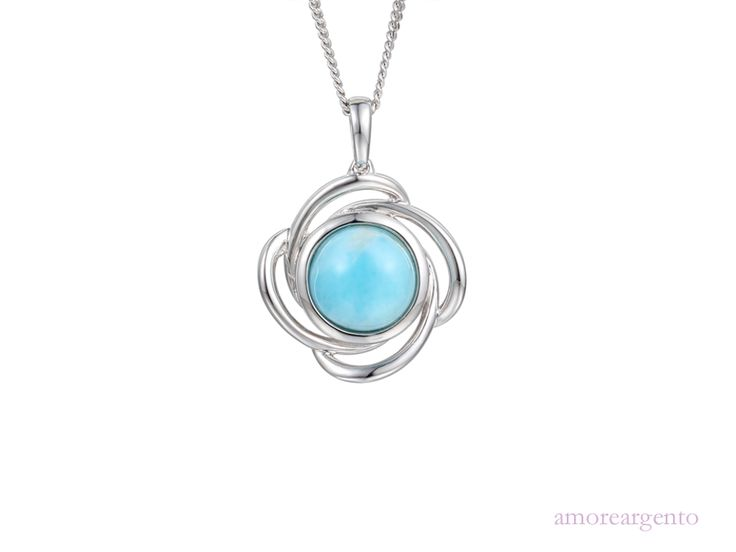 """Shining Star Necklace - A simple, stylish swirl with a beautiful vibrant larimar. Comes with a 16"""" to 18"""" adjustable silver curb chain. Larimar is such a lovely colour and can be worn with everything. This pretty and elegant necklace with a touch of modern styling will add just the right amount of colour and glamour to any outfit - http://goo.gl/hNICc7"""