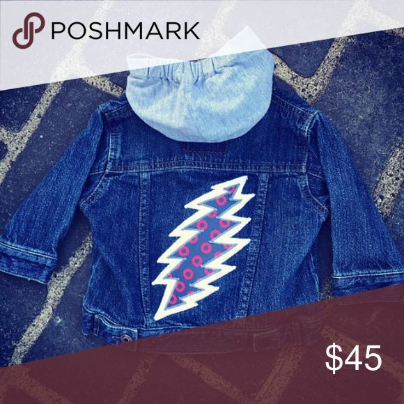 Steal your phish donuts. Baby denim jacket Baby denim jacket Upcycled with a Grateful Dead 13 point bolt patch consisting  of phish donut fabric . Detachable jersey hood. Osh Kosh Jackets & Coats