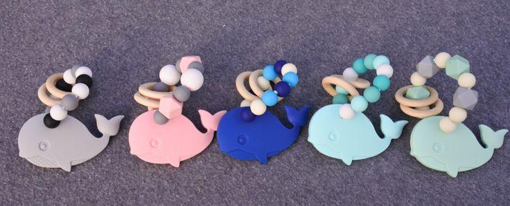 Baby bijtringen gemaakt van silicone, de walvis is ideaal bijtspeelgoed voor doorkomende tandjes