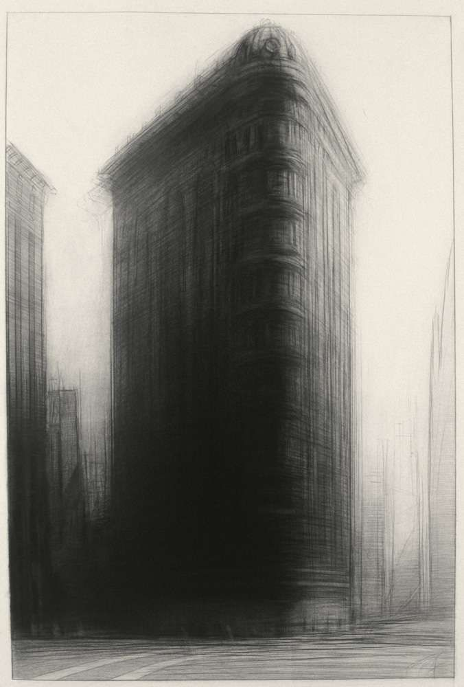 Columbus Avenue, 37'' x 27'', charcoal on paper, 1987
