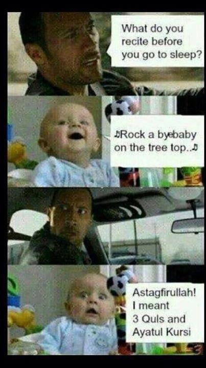 Islamic joke on what to pray before sleeping lool #DwayneTheRockJohnson #CuteBaby