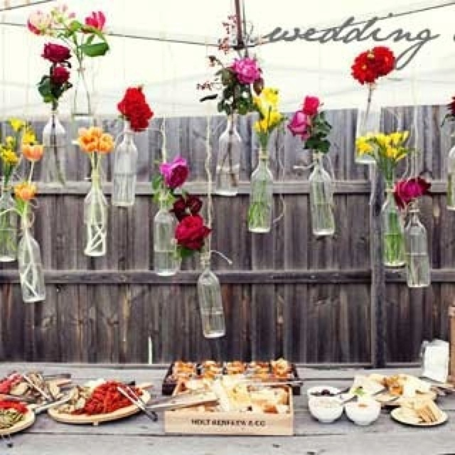 Inexpensive And Eco Way To Decorate Wedding Reception DIY Hanging Flower Vases With Old Glass Bottles More Cuteness