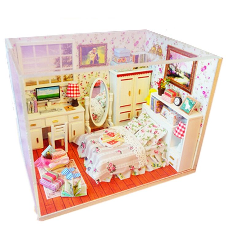 32.99$  Buy here - http://alivao.shopchina.info/go.php?t=1000001849164 - Creative Wooden Doll House Furniture DIY Miniatura Dollhouse Assembling Toys for Kid's Gifts,Funny Handmade Dolls Houses  #aliexpresschina