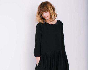 Robe - robe Oversize noire - robe Oversize - Loose Fit - fait à la main par OFFON en vrac