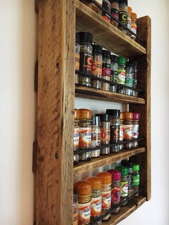 Spice Rack Storage For Spices Rustic Wood Kitchen Etsy Wooden Spice Rack Wood Spice Rack Reclaimed Wood Kitchen
