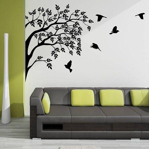 Interieursticker Groep vogels in boom - Muursticker boom | Muurmode.nl