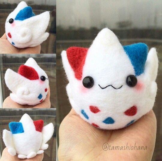Togekiss needle felting by Tamashiohana on instagram #pokemon #needlefelting