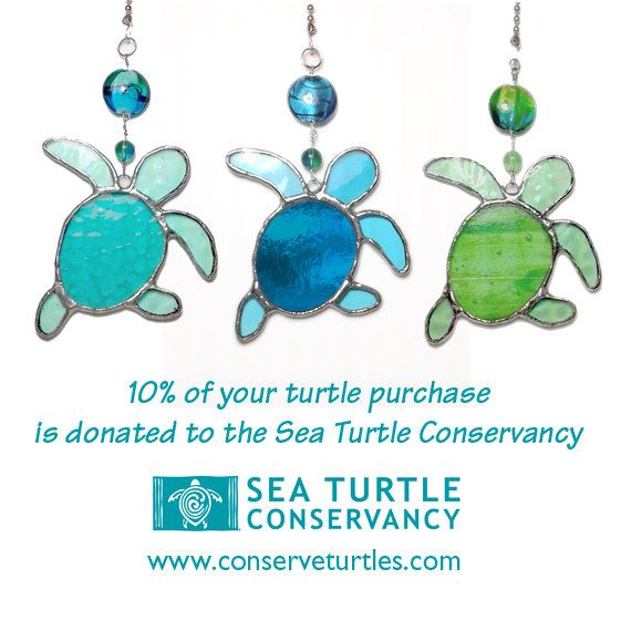 Baby Sea Turtle stained glass fan pulls