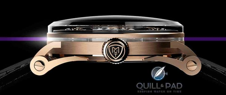 Sapphire crystal ring in the caseband of the MCT Sequential Two S200 in red gold