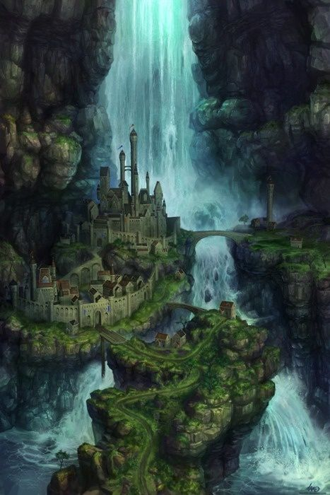 1000 images about all types of beautiful art on for Waterfall environment