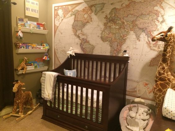 World map as wallpaper...travel themed nursery :)