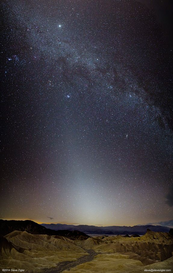 Astrophotographer Steve Zigler created this image in Death Valley during the new moon on Jan. 30, 2014. At center, stretching up, shines an intense display of Zodiacal light. Several other notable features gleam forth, including the winter Milky Way, the Andromeda galaxy, Jupiter, the Pleiades, and the Orion nebula.
