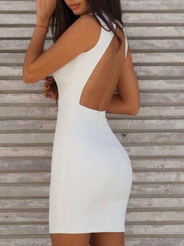 Open Back Plungle Bodycon Dress