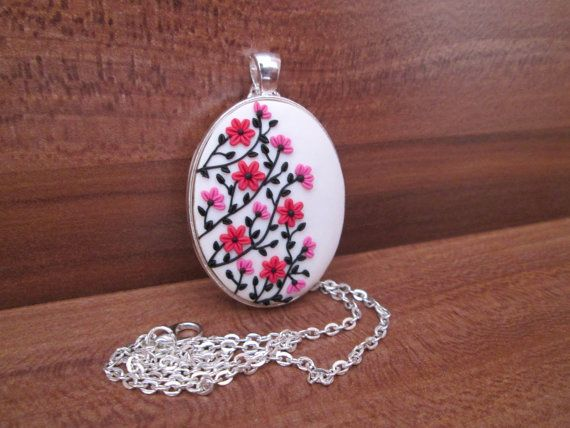 cherry flower necklace christmas gift for her fashion style gifts flowers mom by FloralFantasyDreams