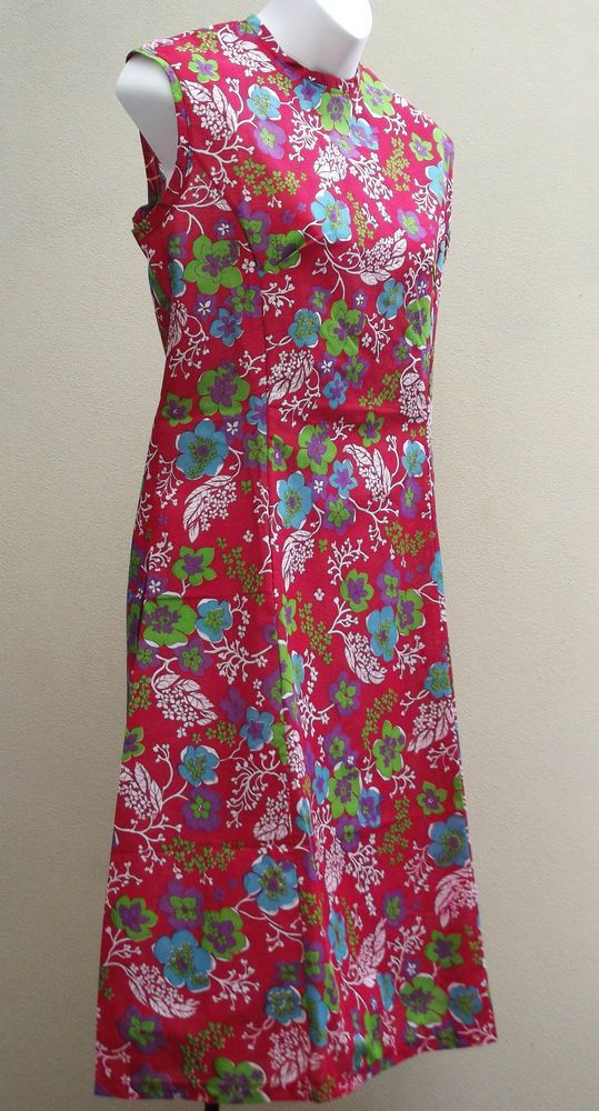 Vintage summer dress UK Size 14 18 floral print FLOWER POWER UNUSED 1960s 1970s