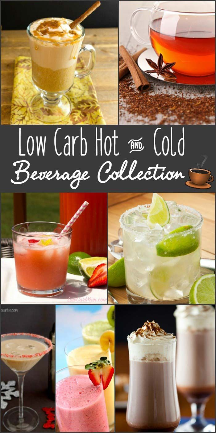 Low Carb Hot and Cold Beverage Collection- sugar free coffee drinks, teas, smoothies, cocktails, frappuccino, fizzy drinks, flavored drinks, milkshakes, floats and more. All low carb and delicious! via @staceyloucraw