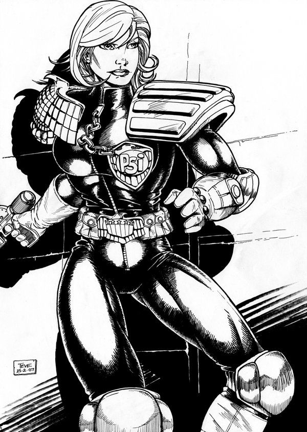 Judge Anderson (2007) Inks by SteveAndrew.deviantart.com