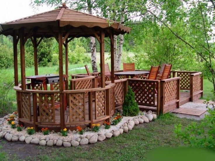 wooden gazebo at the cottage