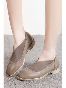 Квадратный Резинка Toe плоские туфли - серый цвет 36