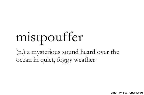 pronunciation | mist-poof-er   #mistpouffer, noun, english, quiet, foggy, sound, noise, fog, weather, ocean, mysterious sound, sounds, mysterious, sea, over the ocean, winter, words, otherwordly, other-wordly, definitions, M