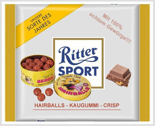 RITTER SPORT Fake Schokolade Hairballs - Kaugummi - Crisp (von Stefan Keks Alexander)