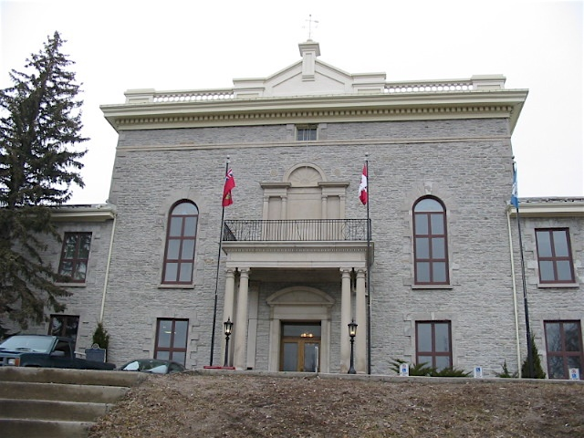Peterborough County Courthouse, Peterborough, Ontario.At a cost of over £7000, the court house was completed in 1840 and the jail in 1842 with stone quarried from Jackson's Park, adding to the community structures of notable size and design.